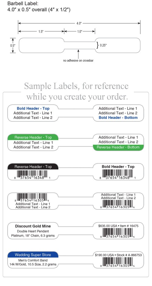 Large Poly Barbell Labels